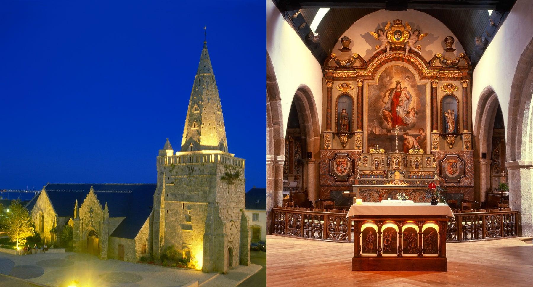 Les 4 évangélistes et leur bestiaire respectif ont été réalisés par Guillevic pour l'autel de l'église