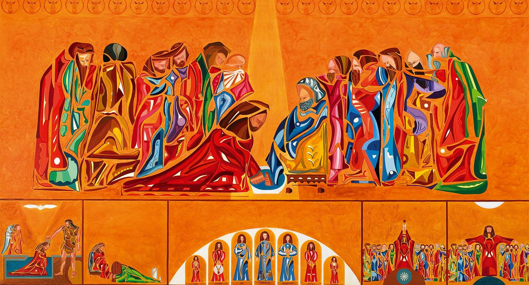 Le lavement des pieds est une peinture réalisée par Guillevic de 6 mètres de long par 4 mètres de hauteur
