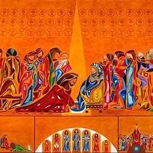 Jésus lave les pieds de Pierre. Une réalisation de Yannig Guillevic La Chapelle Rose