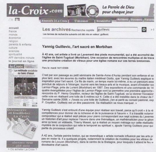 yannig guillevic l'art sacré en morbihan article de presse journal la croix