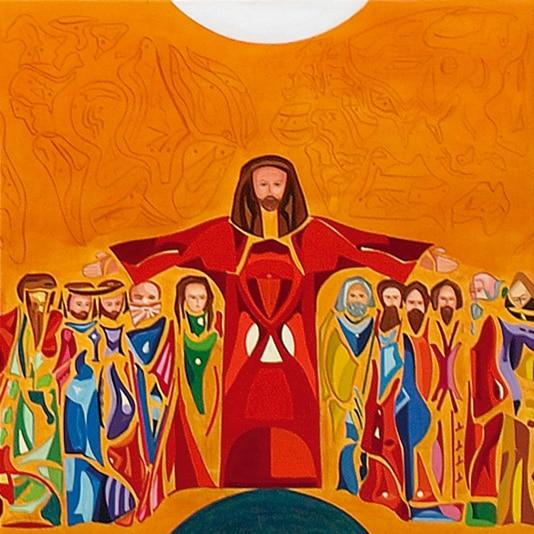 peinture de Guillevic montrant Jésus les bra ouverts aimez-vous les uns les autres comme je vous ai aimés