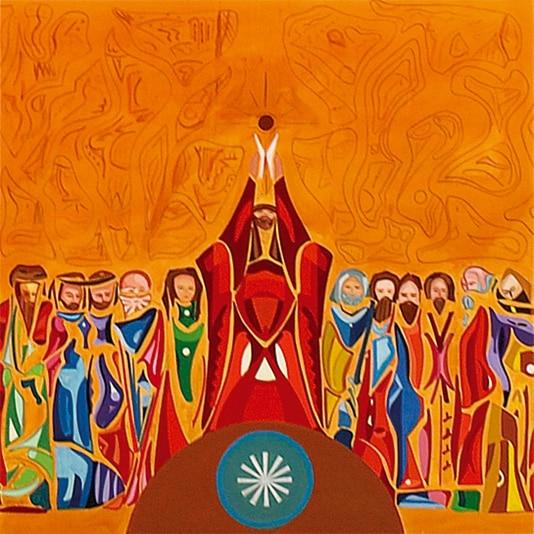 Peinture montrant Jésus avec le pain et le vin