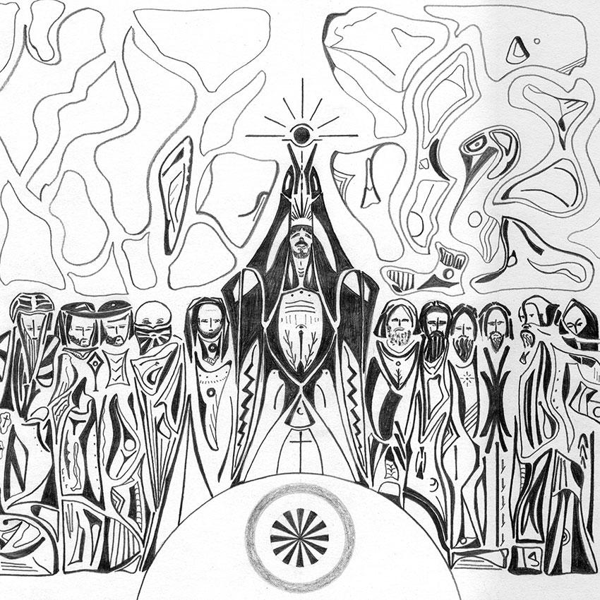 Eucharistie un dessin de Guillevic montrant Jésus portant au ciel le ciboire