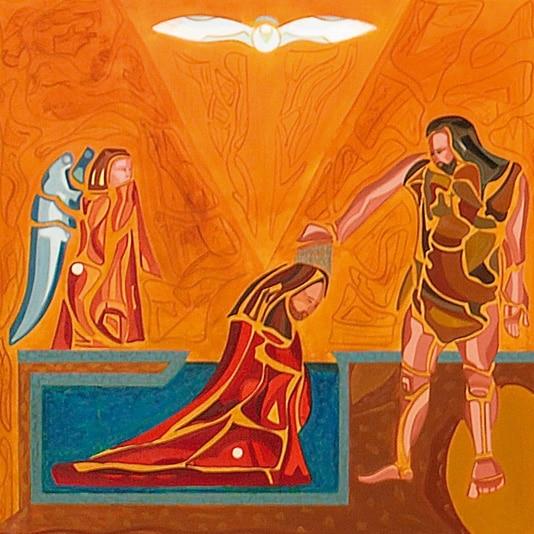 scène du lavement des pieds le baptême de jésus dans le jourdain la chapelle rose