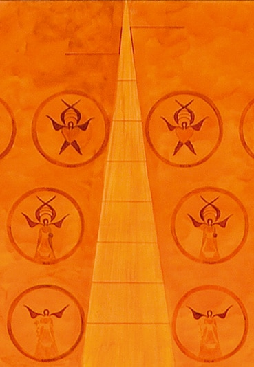 Détail du triangle divin et les anges du Lavement des pieds peint par Guillevic