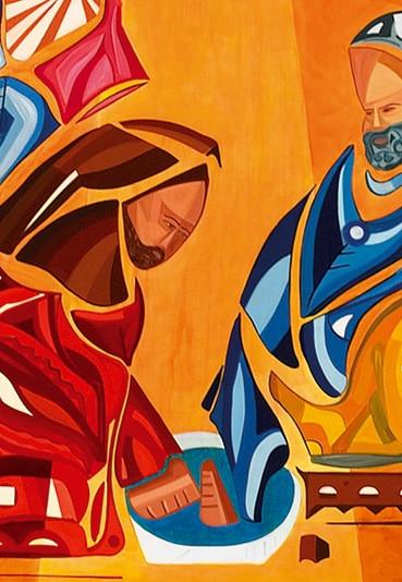 le lavement des pieds évangile de saint jean représente au centre la main de Jésus et le pied de Pierre dans la bassine d'eau