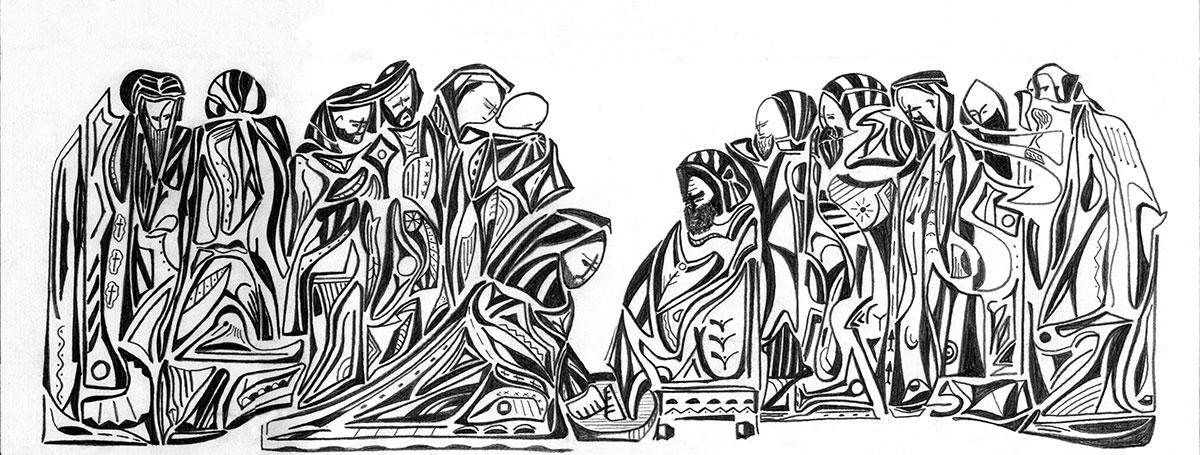 Dessin du Lavement des pieds : Jésus lave les pieds de Pierre