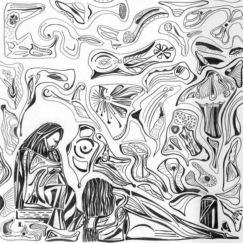 Sur ce dessin de Guillevic, Marie de Béthanie lave les pieds de Jésus
