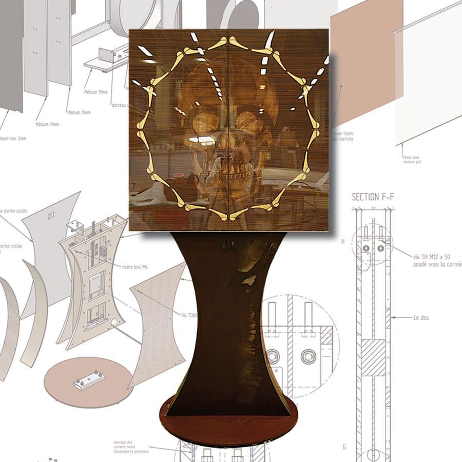 vue du dispositif entier du memento mori conçu par Guillevic alias gyan meer