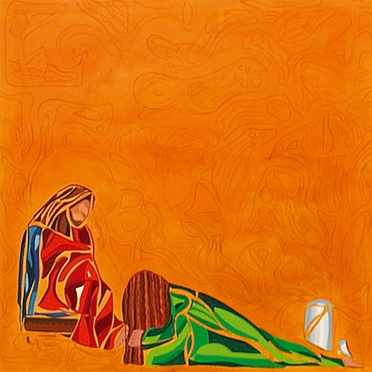 Onction de Jésus par Marie de Béthanie qui lui essuie les pieds avec ses cheveux