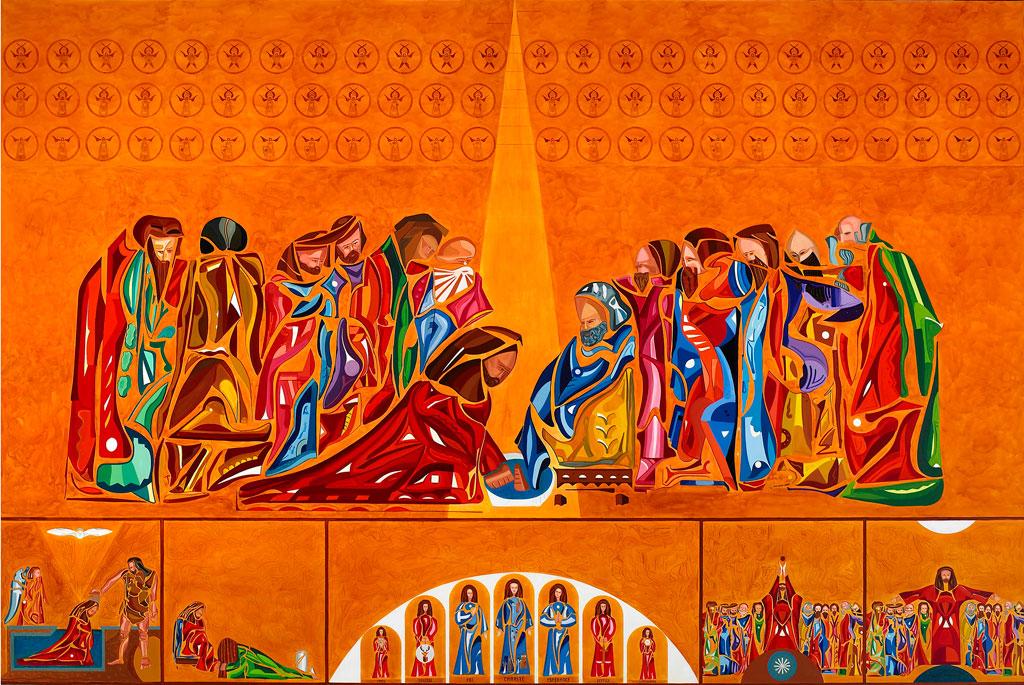 La peinture Le Lavement des pieds est de grandes dimensions 6 mètres x 4 mètres