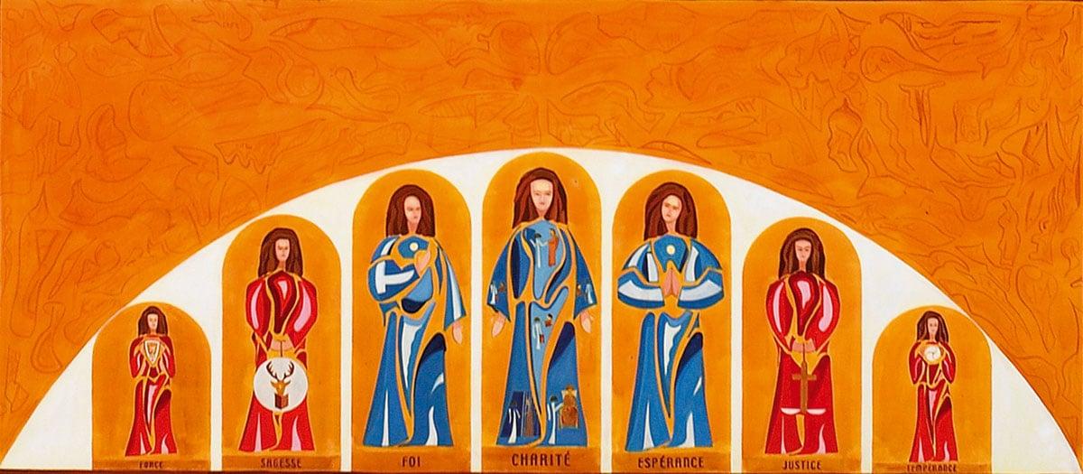 Les trois vertus théologales et les quatre vertus cardinales constituent le pont du lavement des pieds par guillevic