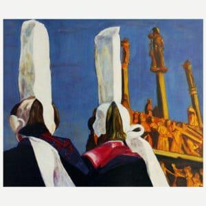 Peinture de deux bigoudenes devant le calvaire de tronoen