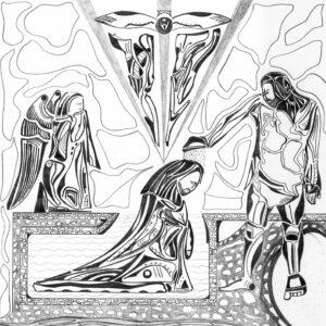 Jean le Baptiste baptise Jésus. Dessin réalisé par Guillevic LA CHAPELLE ROSE
