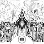 Jésus et ses apotres pendant l'eucharistie. Carte illustrée par Guillevic